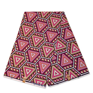 African Wax print fabric - Pink Triangle bubbles
