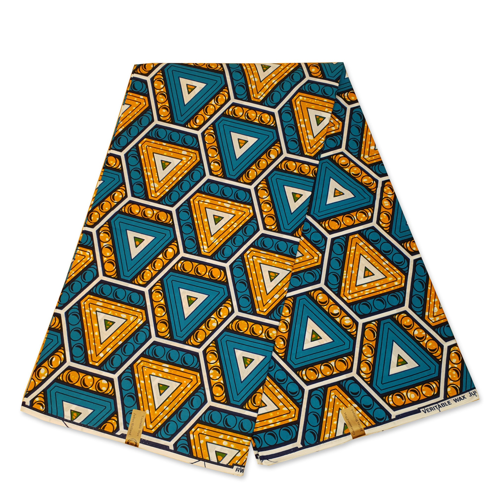 African Wax print fabric - Blue Triangle bubbles