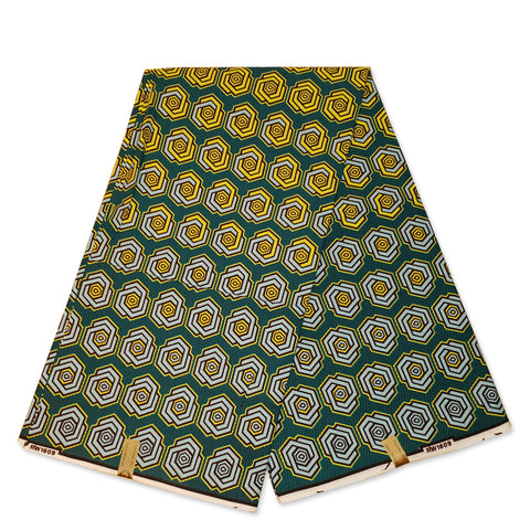 African Wax print fabric - Green 3D Chains