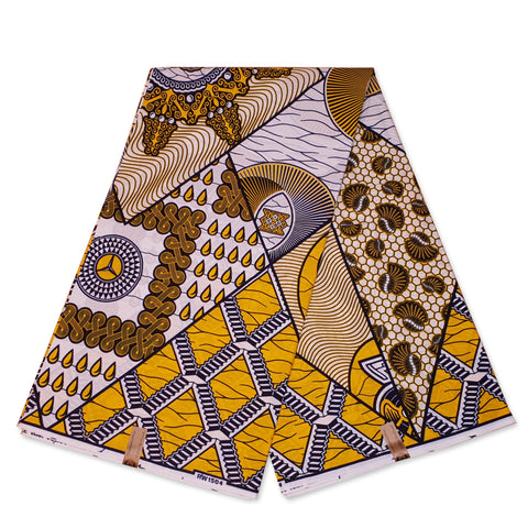 African Wax print fabric - Yellow Stardrip