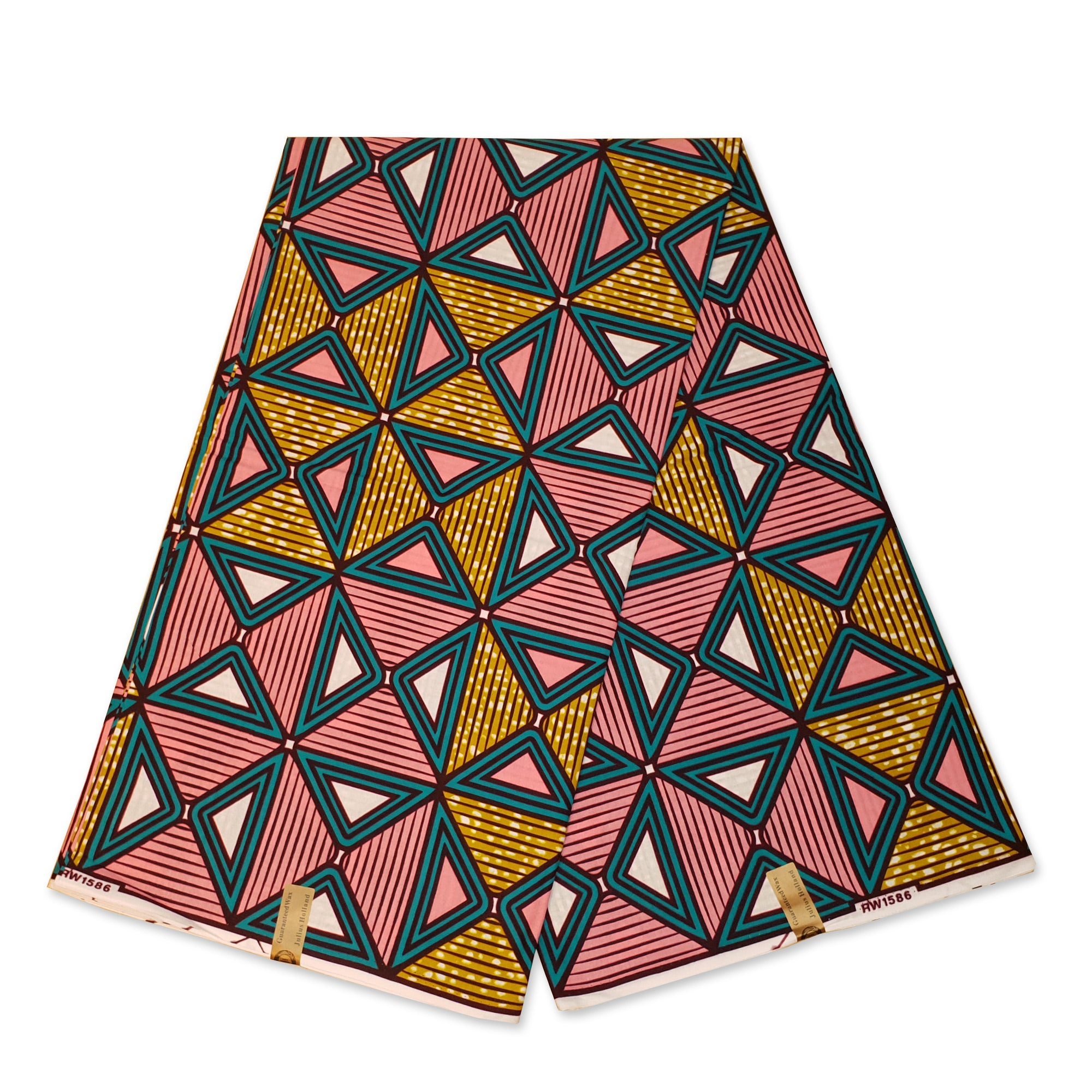 African Wax print fabric - Pink / mustard Triangle