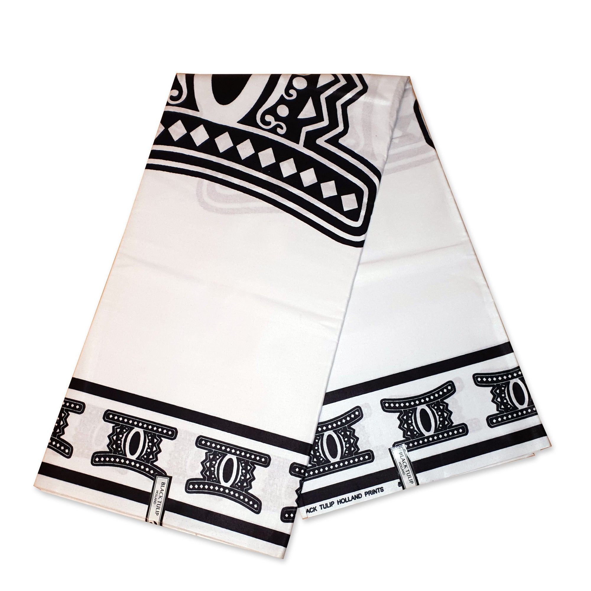 African Wax print fabric - Black / white Ancient shapes