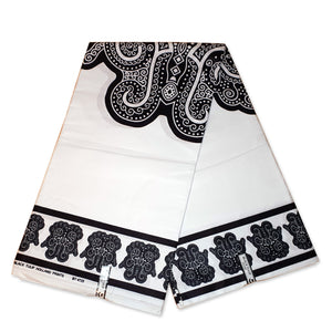 African Wax print fabric - Black / white Tribal shapes