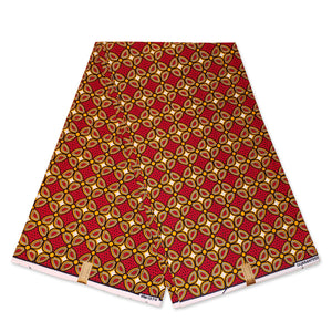 African Wax print fabric - Red Royal pattern