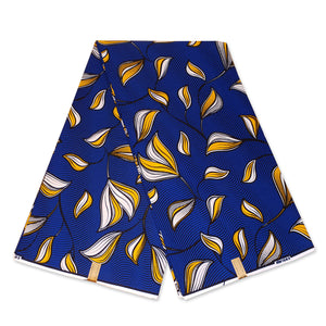 African Wax print fabric - Blue / Yellow spring leaves