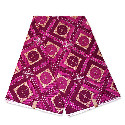 African Wax print fabric - Pink plaids