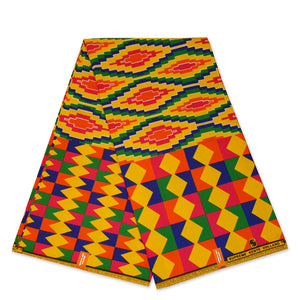 African Yellow / multicolor  Kente print fabric KENTE Ghana wax cloth KT-3083