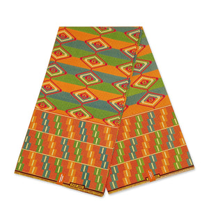 African Yellow / Green Kente print fabric KENTE Ghana wax cloth KT-3087