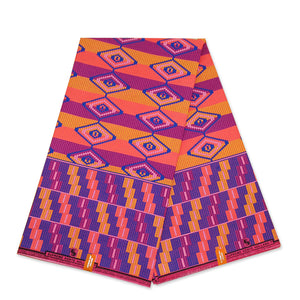African Orange / Blue / Yellow Kente print fabric KENTE Ghana wax cloth KT-3088