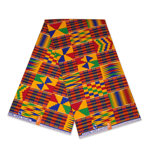 African Blue / Yellow / Red Kente print fabric KENTE Ghana wax cloth KT-3109