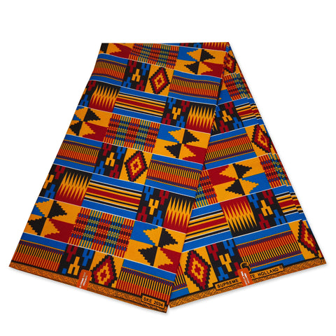 African Yellow / Orange Kente print fabric KENTE Ghana wax cloth KT-3117