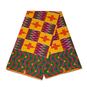 African Red / Yellow Kente print fabric KENTE Ghana wax cloth KT-3122