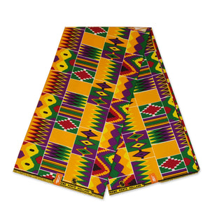 African Purple / Green / Yellow Kente print fabric KENTE Ghana wax cloth KT-3123