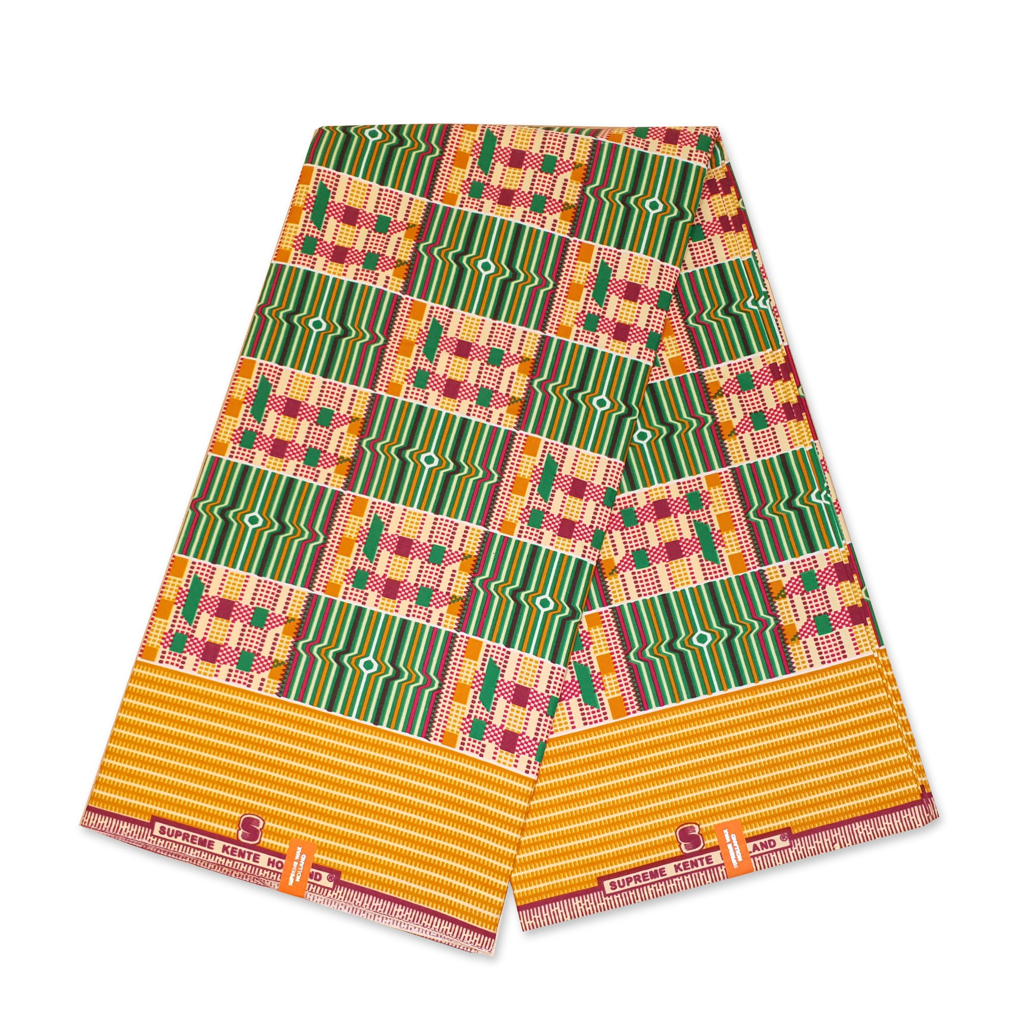 African Green / Yellow Kente print fabric KENTE Ghana wax cloth KT-3126