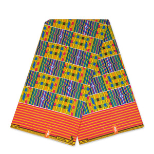 African Purple Yellow Kente print fabric KENTE Ghana wax cloth KT-3132