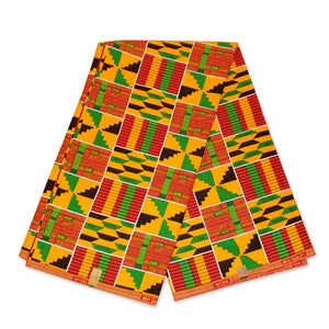 African Green Yellow Kente print fabric KENTE Ghana wax cloth KT-3136 - 100% Cotton