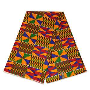 African Yellow / Green Kente print fabric KENTE Ghana wax cloth KT-3140