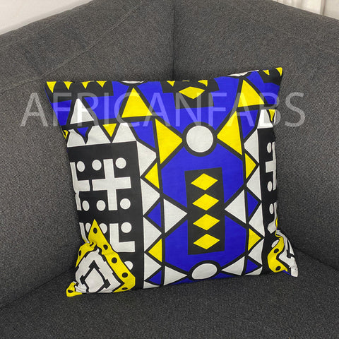 African pillow cover | Blue Samakaka - Decorative pillow 45x45cm - 100% Cotton