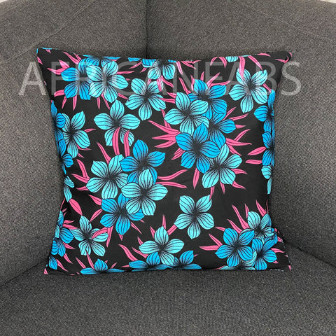 African pillow cover | Blue flowers - Decorative pillow 45x45cm - 100% Cotton