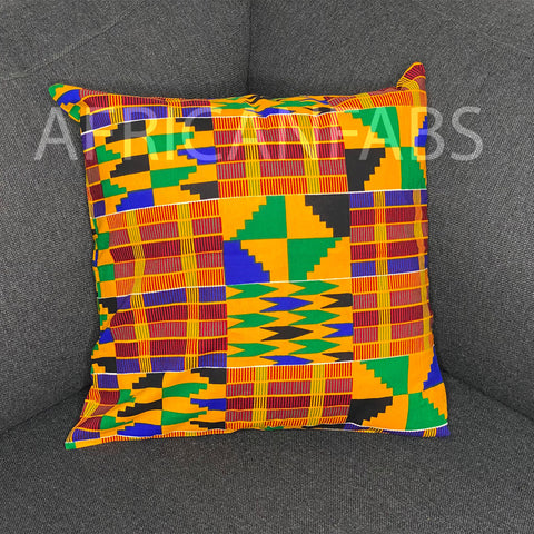 African pillow cover | Orange kente - Decorative pillow 45x45cm - 100% Cotton