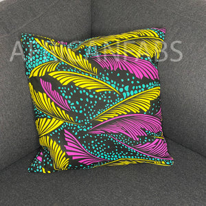 African pillow cover | Yellow Pink feathers - Decorative pillow 45x45cm - 100% Cotton