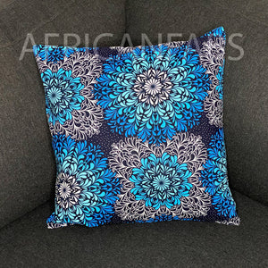 African pillow cover | Blue crystal flowers - Decorative pillow 45x45cm - 100% Cotton