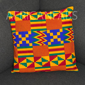 African pillow cover | Red yellow kente - Decorative pillow 45x45cm - 100% Cotton