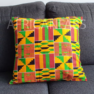 African pillow cover | Green yellow kente - Decorative pillow 45x45cm - 100% Cotton
