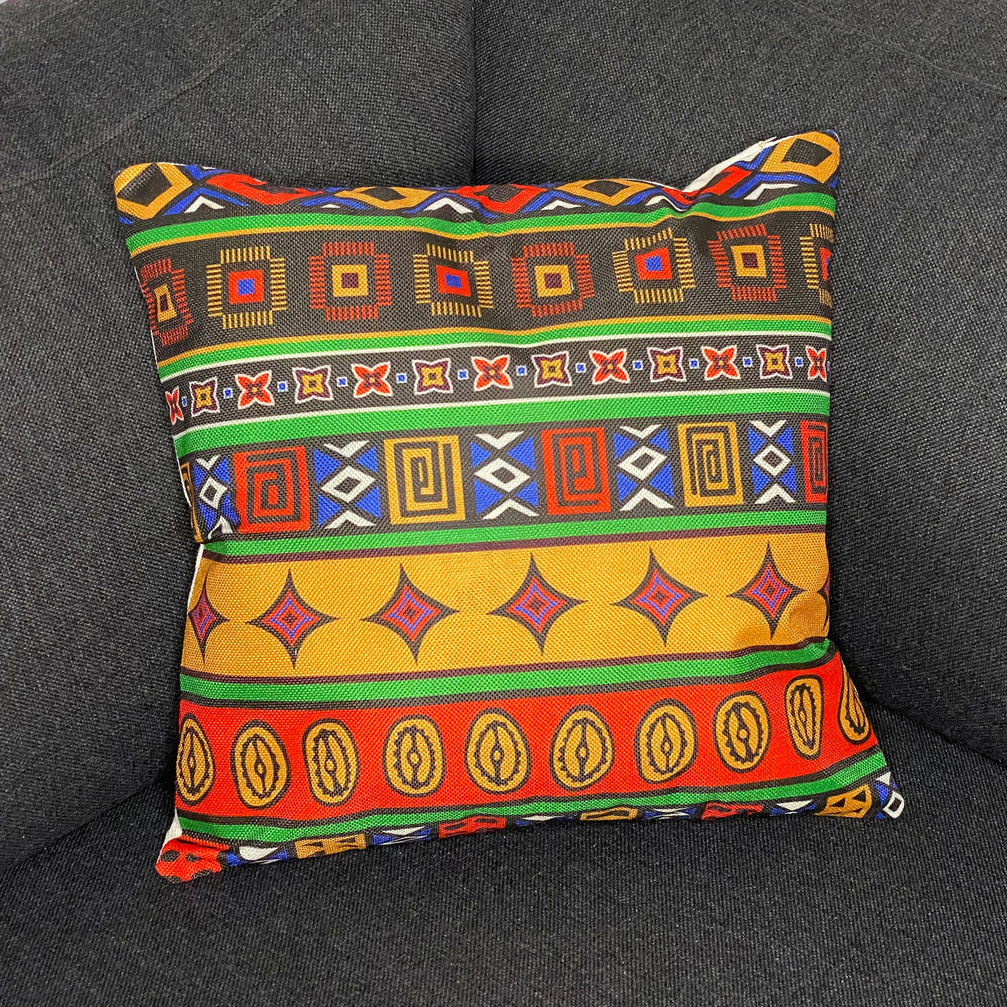 African pillow cover | Multicolor ancient tribal - Decorative pillow 45x45cm