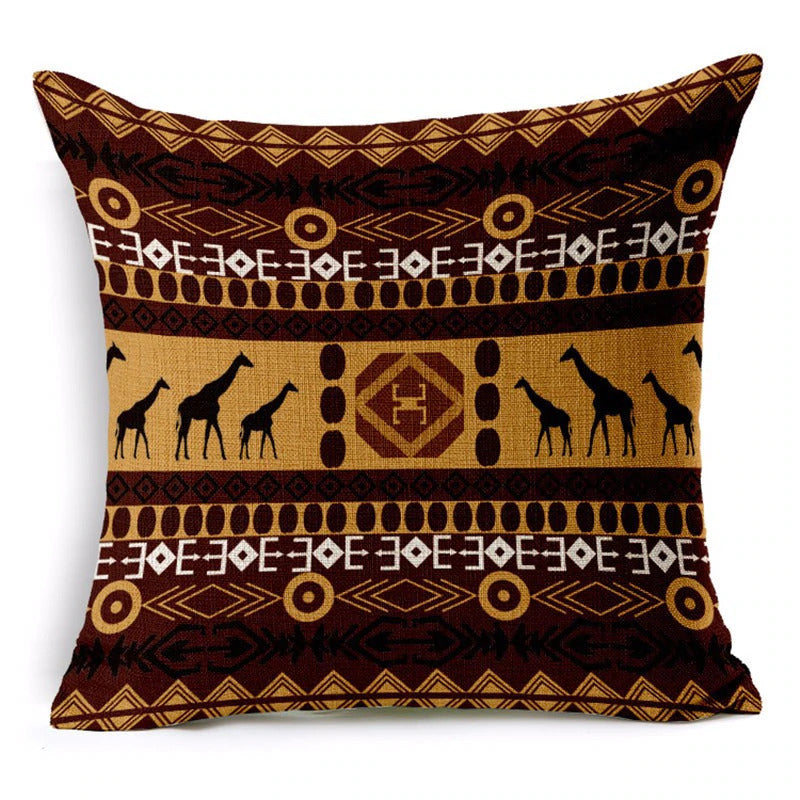 African pillow cover | Brown tribal Giraffe - Decorative pillow 45x45cm