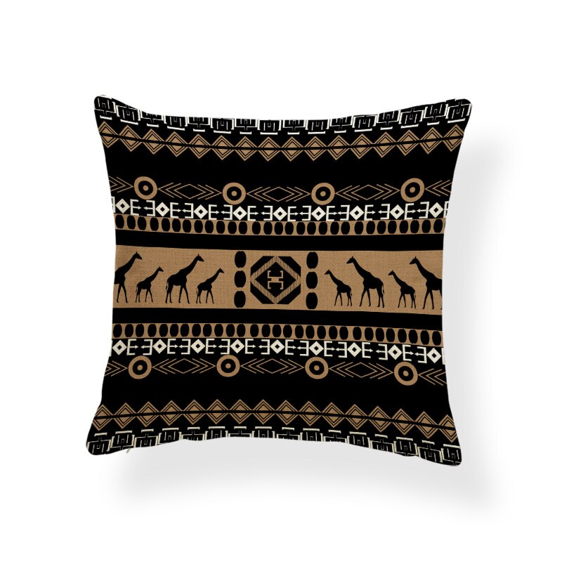African pillow cover | Black tribal Giraffe - Decorative pillow 45x45cm