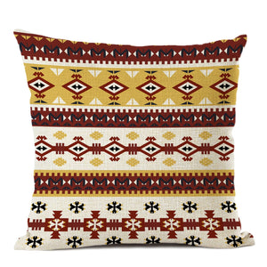 African pillow cover | White yellow Ancient decoration - Decorative pillow 45x45cm