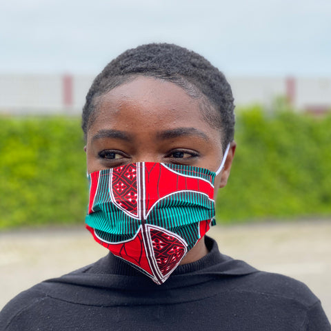African print Mouth mask / Face mask made of 100% cotton - Red green swirl fan