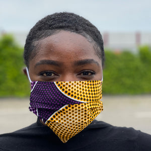 African print Mouth mask / Face mask made of 100% cotton - Purple yellow circles