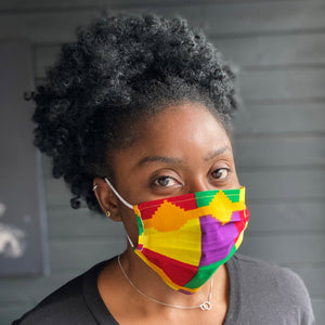 African print Mouth mask / Face mask made of 100% cotton - Yellow purple kente
