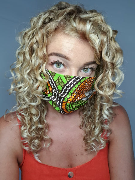 African print Mouth mask / Face mask made of 100% cotton - Green orange