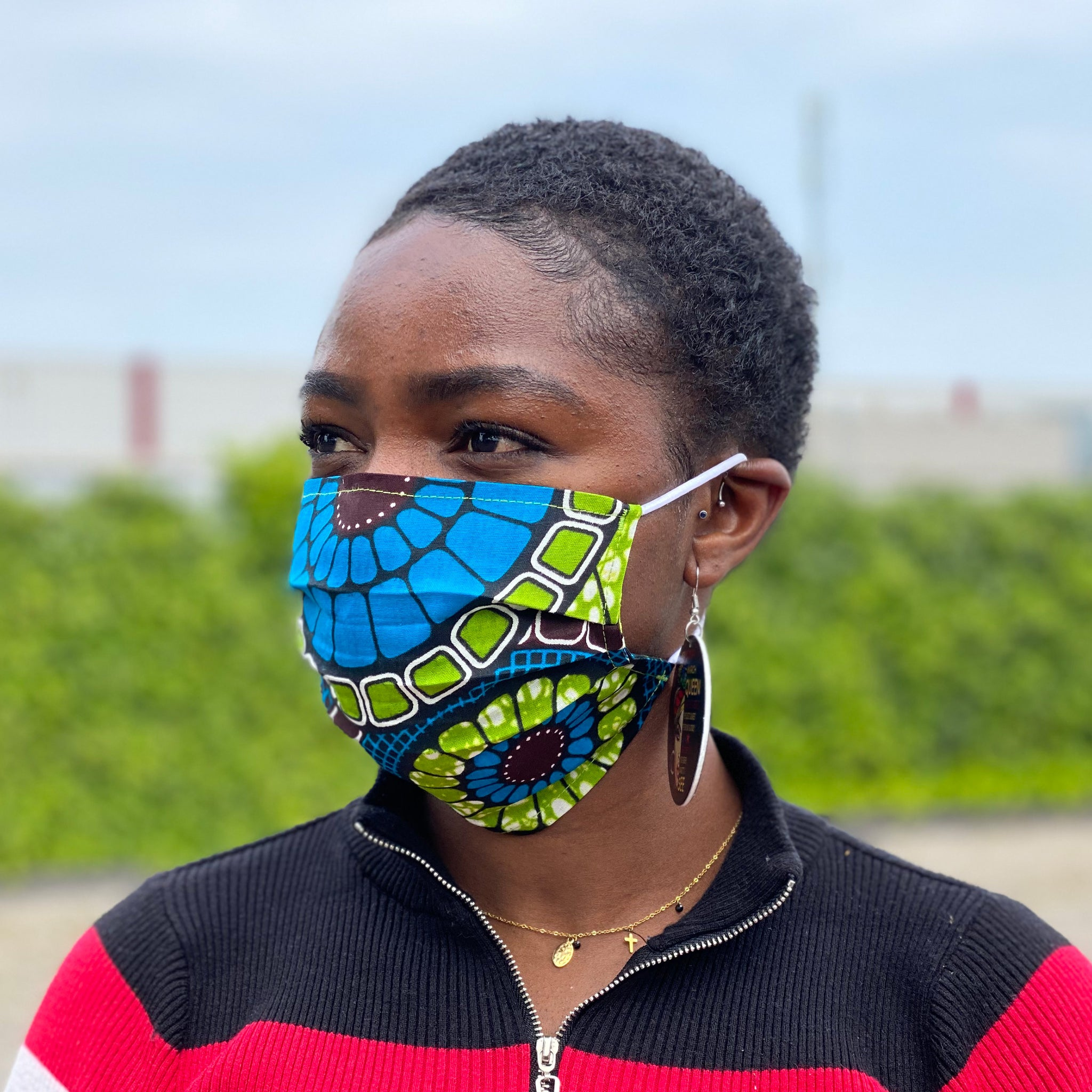 African print Mouth mask / Face mask made of 100% cotton - Blue green circles