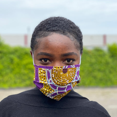 African print Mouth mask / Face mask made of 100% cotton - Purple mustard dots