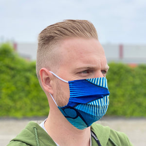 African print Mouth mask / Face mask made of 100% cotton - Blue effects