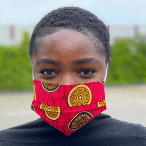 African print Mouth mask / Face mask made of 100% cotton - Pink mini disks