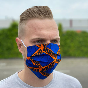 African print Mouth mask / Face mask made of 100% cotton - Blue orange stairs