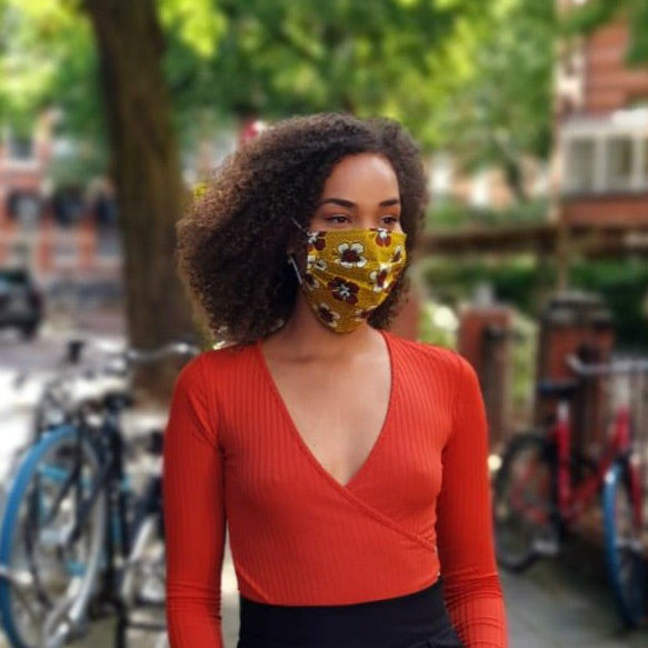 African print Mouth mask / Face mask made of 100% cotton - Mustard maroon flowers