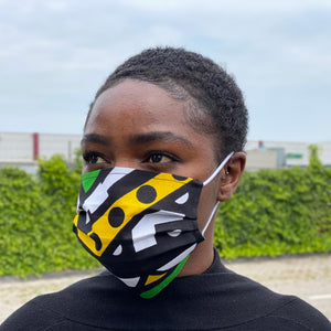 African print Mouth mask / Face mask made of 100% cotton - Green samakaka