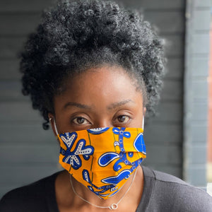 African print Mouth mask / Face mask made of 100% cotton - Yellow blue leaves