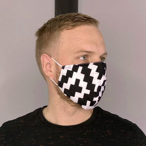 African print Mouth mask / Face mask made of 100% cotton Unisex - Black white blocks