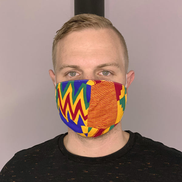 African print Mouth mask / Face mask made of 100% cotton Unisex - Blue orange kente