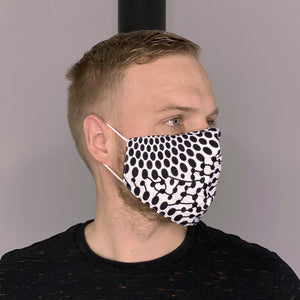 African print Mouth mask / Face mask made of 100% cotton Unisex - Black / white dots