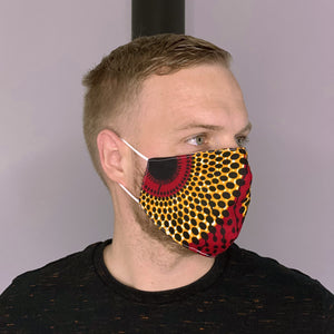 African print Mouth mask / Face mask made of 100% cotton Unisex - Red / Yellow / Black dots