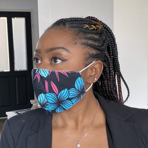 African print Mouth mask / Face mask made of 100% cotton Unisex - Black Blue flowers