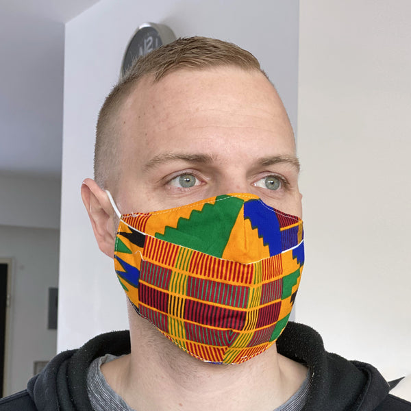 African print Mouth mask / Face mask made of 100% cotton Unisex - Yellow orange Kente